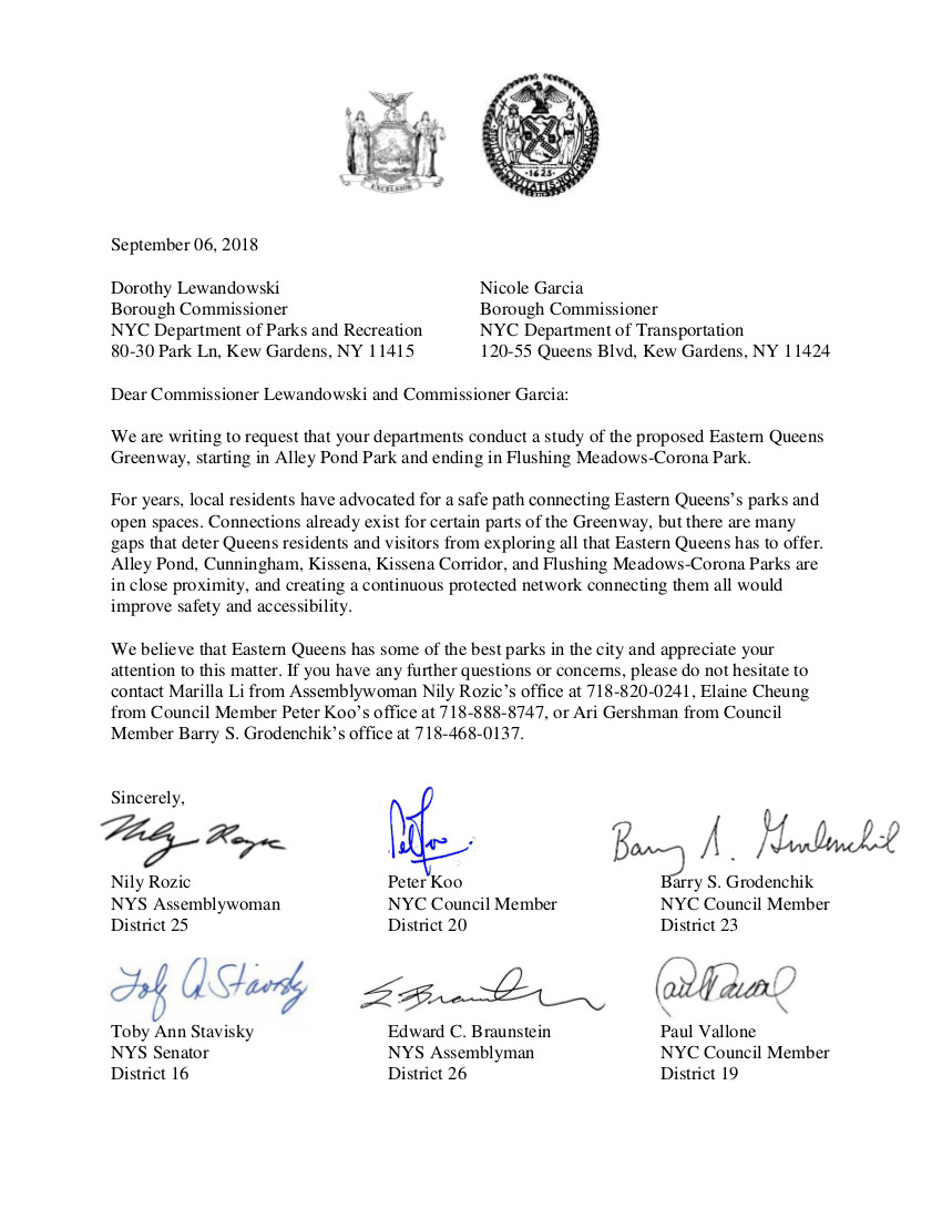 2018-09-06 Final Letter to DOT & DPR Eastern Queens GreenwayFull